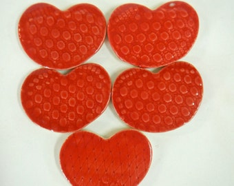 5 Red Heart Mosaic Tiles