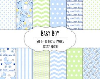 Baby Boy Digital Scrapbook Paper 12x12 Pack - Set of 12 - Diaper Pins, Carriage, Onesie - Instant Download Item #8019