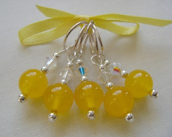 Yellow Jade Stitch Markers for Knitting or Crochet