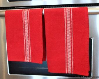 Scandinavian Tea Towel - Red and White