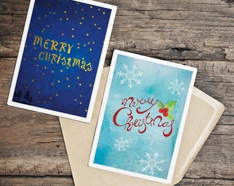 Christmas greetings cards set holiday winter xmas cards, be Merry be bright, happy holidays , digital, INSTANT DOWNLOAD