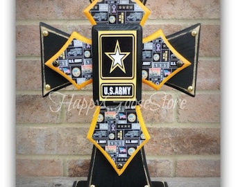 Cross - Wood Cross - Military - Large Standing Cross - US ARMY (can be made in any branch)