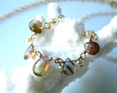 Mellie necklace-- 14k gold filled AAA Watermelon Tourmaline and freshwater pearl petite necklace pendant choker
