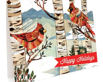 Cardinals Folded Holiday Cards, Box of 10 - A Collaboration with Mixed Media Artist Dolan Geiman - Happy Holidays - OC1151-BX