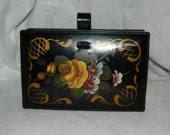 Vintage Decoware Hand Painted Tin Crumber Crumb Butler Back Flowers