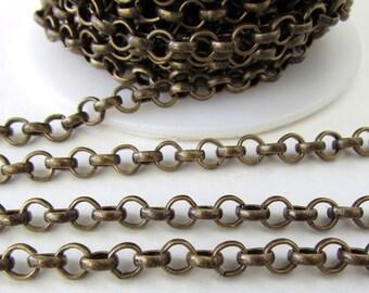 Antiqued Brass Ox Chain Rolo Open Links TierraCast 4.5mm chn0165 (1 foot)