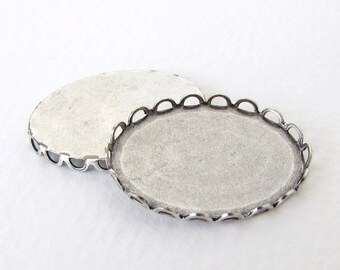 Filigree Setting Cameo Antiqued Silver Ox Lace Edge Setting Cabochon 25x18mm set0233 (4)