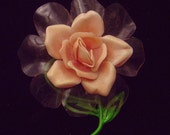 Vintage Celluloid or cellulose acetate Rose Brooch pin Pink