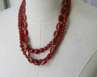 Oxblood Cranberry Garnet Triple Strand  Beaded Necklace