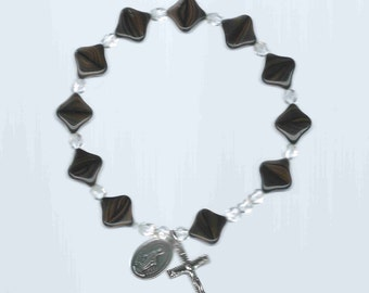 Handmade  Stretch Rosary Bracelet- Unusual Picasso Beads in Black and Pale Yellow w/Crystals