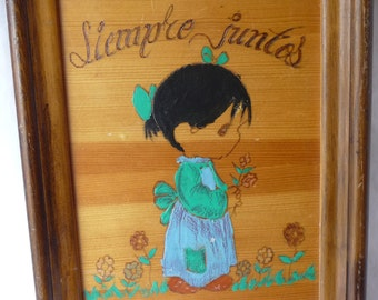 SALE Always Together, Spanish Wall Plaque, vintage handmade, wooden plaque, wood picture, girl with flowers, unique, home decor