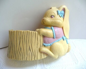 Bunny Wall Pocket, Easter Decor, Burwood Products, vintage 1990, vintage wall hanging, vintage home decor, wall decor, hard plastic