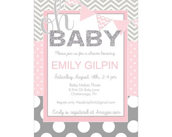 Personalized Oh Baby Pink and Gray Baby Shower Invitations and Envelopes One Dozen Printed NV019