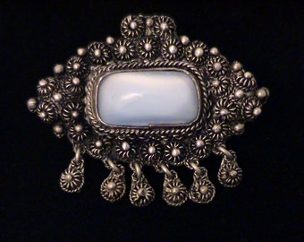 Vintage Signed KETE Blue Moonsttone and Silver Cannetille Brooch