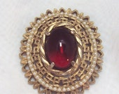 Vintage Unsigned Pin / Pendent with Large Red Cabochon and Pearls
