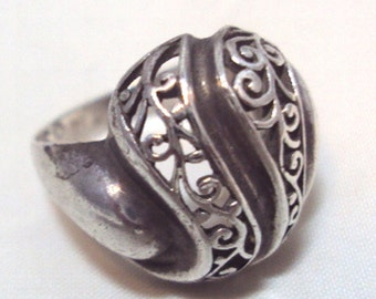 Sterling Silver Open Scroll Work Ring with Artist Mark--- Vintage