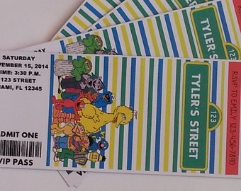 Sesame Street Ticket Invitations