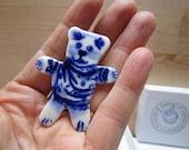 Teddy Bear Brooch - Handpainted Blue  Delft Porcelain