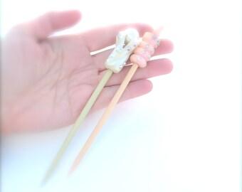 Art Deco Hair Clip Stick Comb  Accessories Cream Celluloid Lucite Crown Rhinestone Faux Pearl Party Occasion Bridal Jewelry