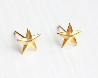 Tiny Domed Gold Star Studs