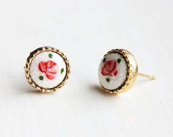 Pink Rose Studs