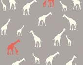 Giraffe Family Shroom - Birch Organic Fabrics - Serengeti - Organic Designer Cotton Grey Red - DEAL of the WEEK- Unisex Baby Fabric - 1 yard