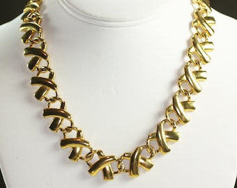 Anne Klein Necklace Gold Tone X Links Bold Chunky 1980s Retro