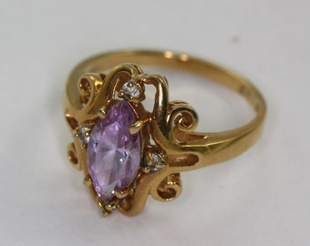 Amethyst Glass Ring Fancy Setting Clear Accents Size 10  Vintage