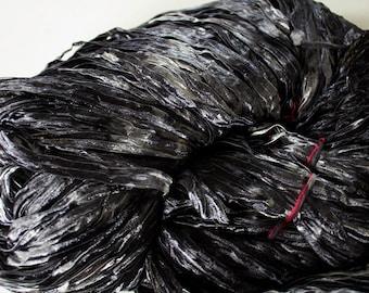 Party, Hand dyed ribbon yarn - Black tonal, nylon 395 yds