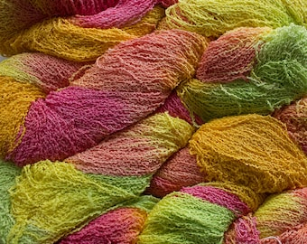 Fine Cotton Boucle, Hand-dyed yarn - Citrus, 300 yds.