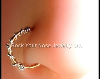 Silver on Gold Nose Ring - Solid 14K Yellow Gold and Argentium Silver - CUSTOMIZE