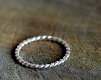 Rope Sterling silver ring - twisted and stackable - Made To Order