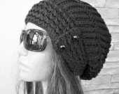 Slouchy Hat Womens Hat  Knit Beanie  hat  Slouchy Beanie   Cable Style  knit   Button  Black   Hat  Ebruk  Winter  Accessories  Winter Hat