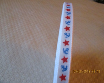Ribbon, vintage large rolls one price, novelty print, anchors and stars, red, white and blue   grosgrain 1940's