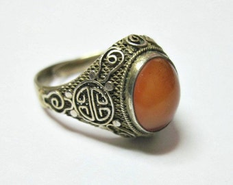 Antique 1920s Art Deco Ring - Chinese Export - Silver - Carnelian - Longevity Symbol - Adjustable - Costume Ring - Cocktail Ring