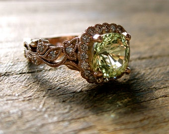Yellow Green Chrysoberyl Engagement Ring in 14K Rose Gold with Diamonds in Flower Blossoms and Leafs on Vine Size 6
