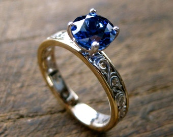 Royal Blue Sapphire Engagement Ring in Two Tone 14K White & 14K Yellow Gold with Floral Scroll Pattern Size 6