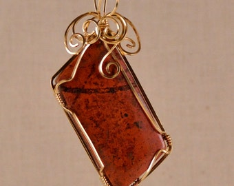 Cuprite rectangular stone, rust red, 14k Gold Filled wire, P248