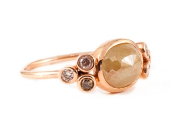 Rose Cut Diamond, Diamond Ring, Champagne Diamond, Engagement Ring, 14K Ring, Multi Diamonds Ring Tula Jewelry