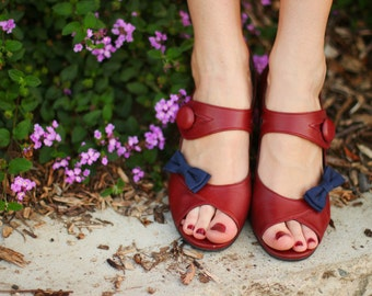 navy blue bow shoe clips made in cotton sateen fabric in many colors