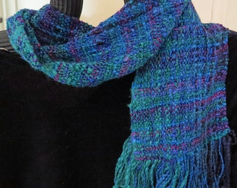 SCARF, Handwoven in Jewel Tones of Sapphire, Emerald, Amethyst. Narrow and Short
