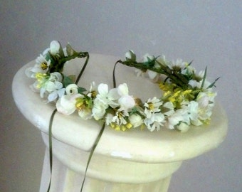 Engagement Pictures Photo prop Flower Crown ivory yellow white Floral hair wreath by AmoreBride wedding bridal acessories flower girl halo