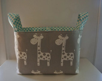 Grey Giraffe with Aqua Dots Divided Diaper Caddy 13.5 x 7.5  deep x 10.5 tall including handles -