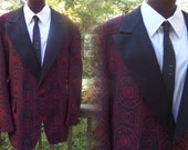 60s After Six Brocade Tux Jacket Sz 50 Reg Large Red+Black design+Satin Lapel + Covered Buttons Union Label Back Vent
