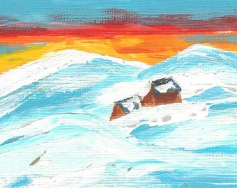 Original Painting, Acrylic, Snow, Cabins, House, Sunset, Sunrise, White, Cabins in the Snow