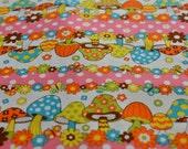 Vintage pink polka dot mushroom flower fabric from Japan Kokka - half yard