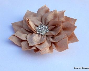 Tan Fabric Hair Flower with Rhinestone Cluster Center Hair Clip - Wedding Clip -Toddler Hair Clip - Girls bows - no slip