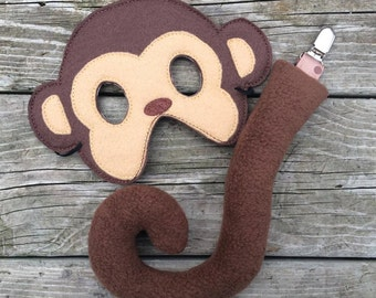 Monkey Clip on Tail and Mask Dress Up Pretend Play