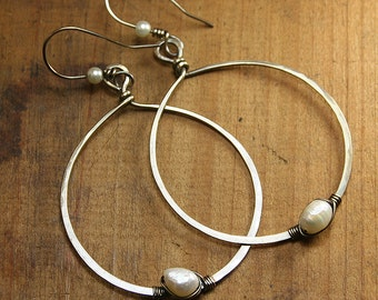Large BOHO Hammered NuGold Brass Hoops with Wire Wrapped Pearl