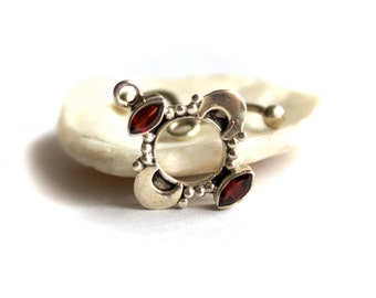 Sterling Silver 925 Red Garnet Toggle Clasp Set Half Moon Faceted Stone